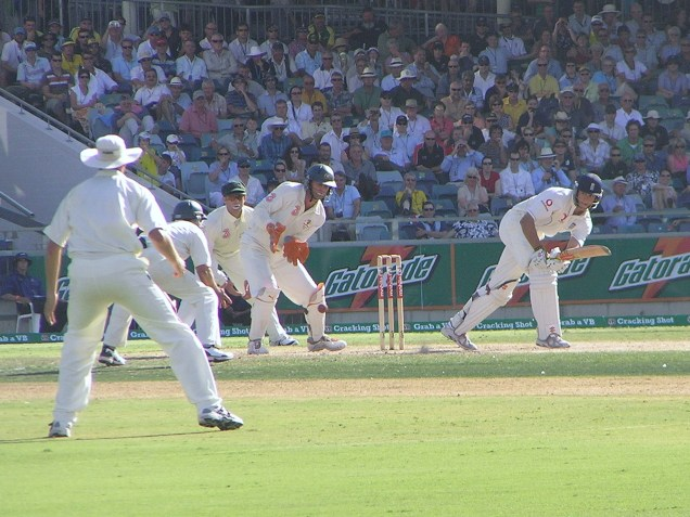 Cook pushes a single to complete his century against Australia in Perth 2006. Taken by this
