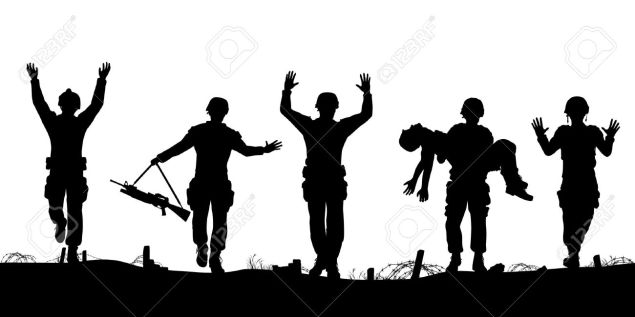 21783820-Editable-vector-silhouettes-of-a-troop-of-defeated-soldiers-surrendering-Stock-Vector