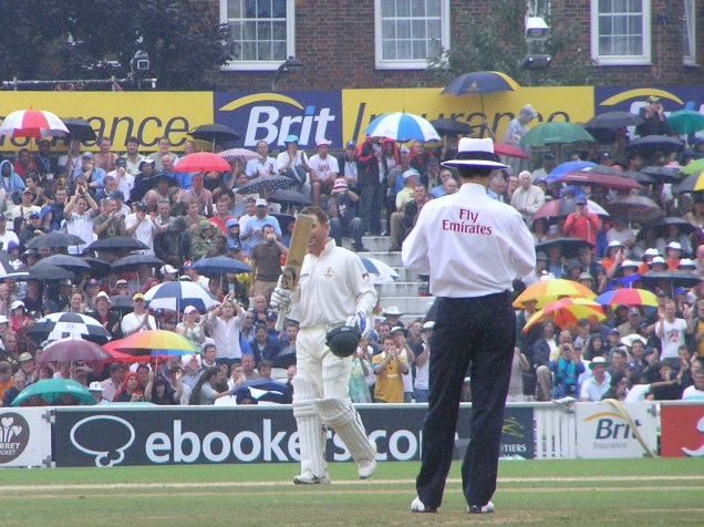 Langer celebrates his ton, in a glorious English summer!