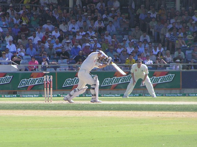 Justin Langer bowled first ball - 2nd Innings, Perth 2006